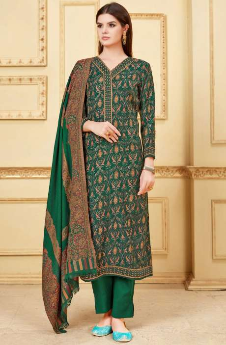 Winter Collection Pashmina Wool Digital Print Bottle Green Salwar Kameez - NIL1698A