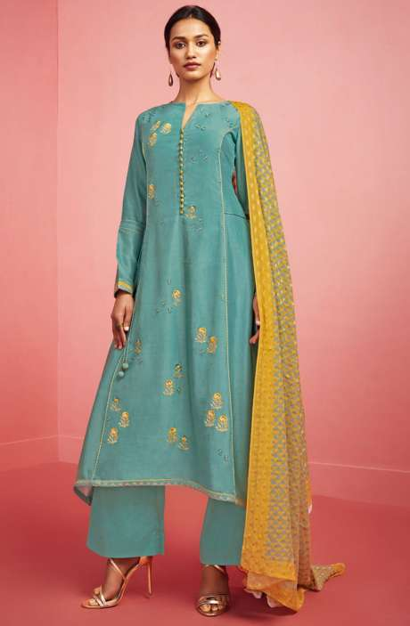 Party Wear Chanderi Cotton Embroidered with Zari and Sequence Work Salwar Kameez In Pastel Green - NIR444