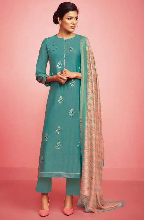 Party Wear Chanderi Cotton Embroidered with Zari and Sequence Work Salwar Suit In Pastel Green - NIR470