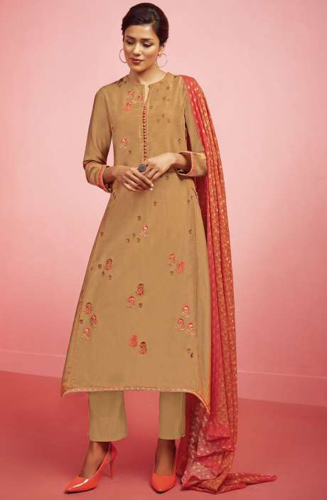 Party Wear Chanderi Cotton Embroidered with Zari and Sequence Work Salwar Kameez In Brown - NIR475