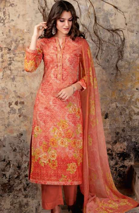 Digital Floral Print Modal Cotton Peach and Red Salwar Suit with Embroidery and Swarovski Work - NIR729