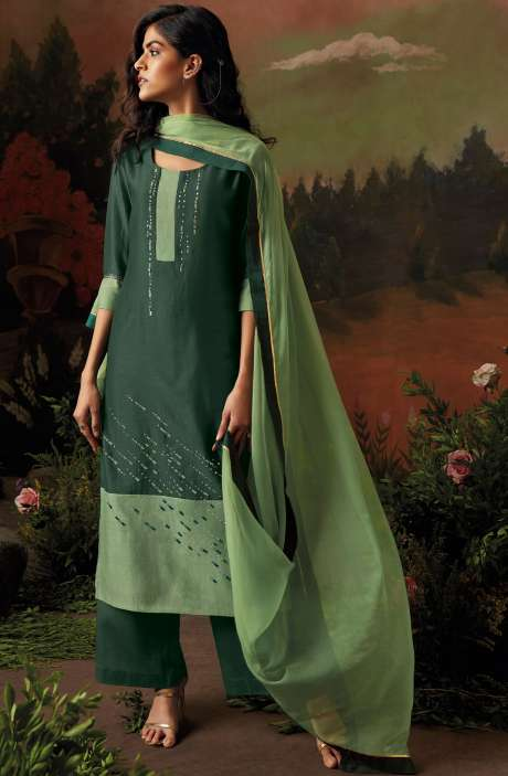 Raw Silk Bottle Green Salwar Kameez with Embellished Work - NIS8319