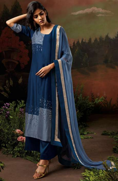 Raw Silk Blue & Grey Salwar Kameez with Embellished Work - NIS8321