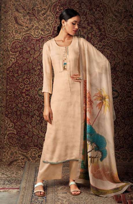 Spun Dobby Printed Unstitched Salwar Kameez In Beige - NISS0243A