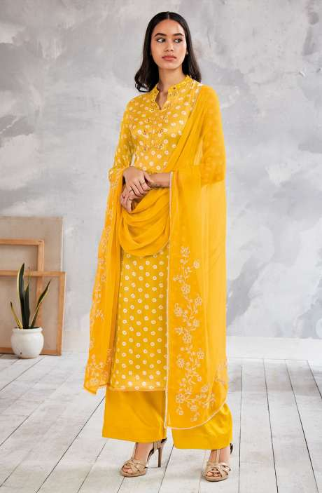 Modal Silk Bandhej Print Salwar Suit In Yellow with Chiffon Dupatta - NIVS0258D