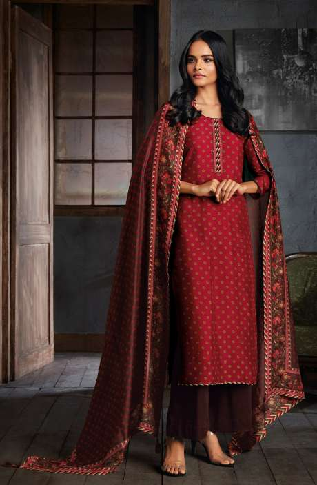 Russian Silk Digital Printed Unstitched Salwar Kameez In Maroon - NIYC0124