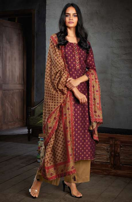 Russian Silk Digital Print with Hand Work Unstitched Salwar Kameez In Wine - NIYC0127