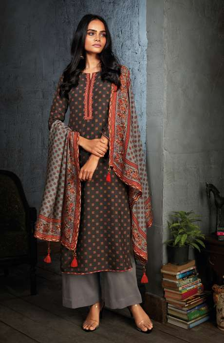 Russian Silk Digital Printed Unstitched Salwar Kameez In Black - NIYC0128