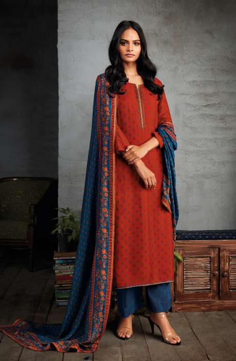 Russian Silk Digital Printed Unstitched Salwar Kameez In Rust - NIYC0129