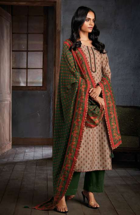 Russian Silk Digital Printed Unstitched Salwar Kameez In Beige - NIYC0130