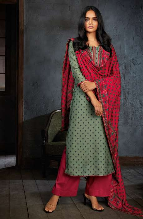 Russian Silk Digital Printed Unstitched Salwar Kameez In Sea Green - NIYC0132