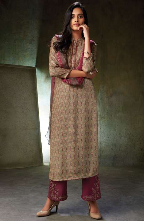 Spun Wool Printed Mehndi and Brown Salwar Suit Sets with Embroidery and Swarovski Work - NOO6737
