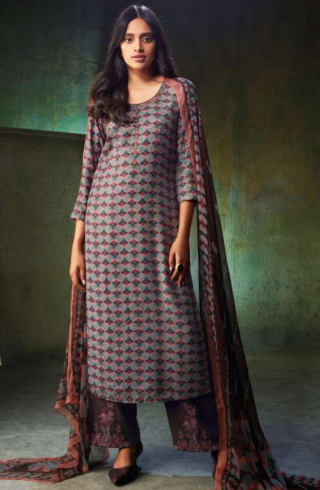 Spun Wool Printed Multi-coloured Salwar Suit Sets with Embroidery and Swarovski Work - NOO6738