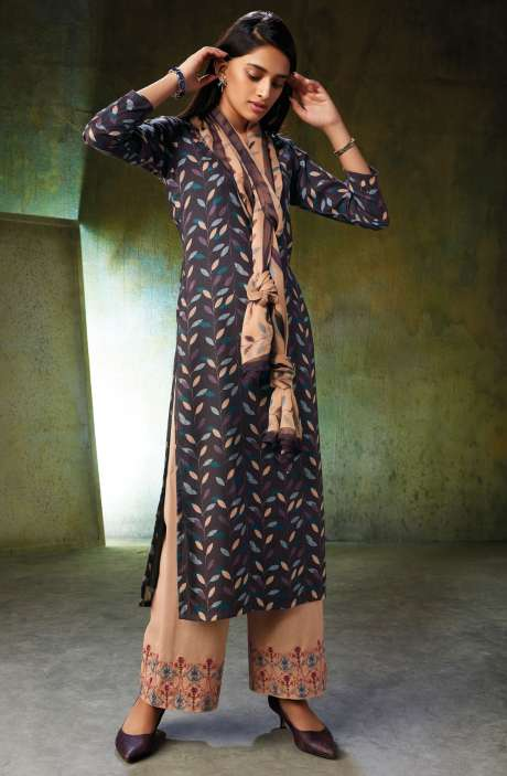 Spun Wool Printed Multi-coloured Salwar Kameez with Embroidery and Swarovski Work - NOO6740