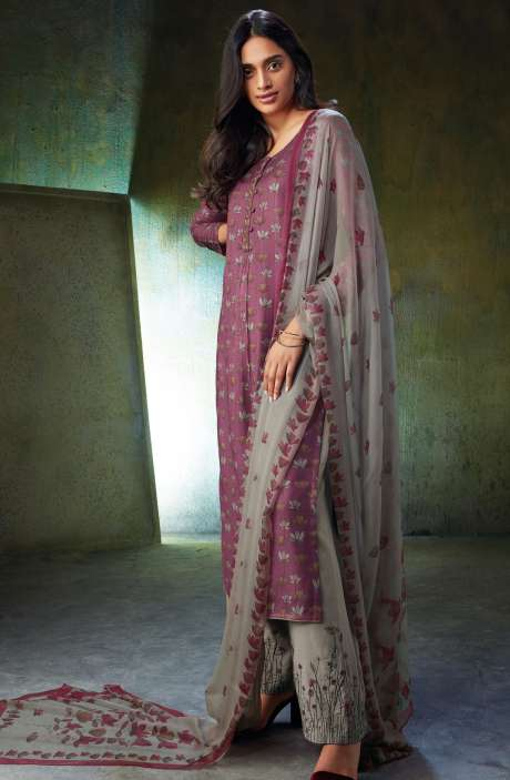 Spun Wool Printed Mauve and Grey Salwar Kameez with Embroidery and Swarovski Work - NOO6741