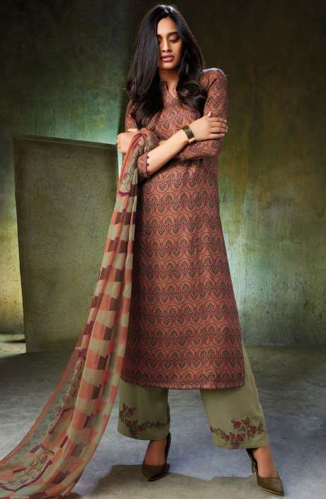 Spun Wool Printed Brown and Mehndi Salwar Kameez with Embroidery and Swarovski Work - NOO6742