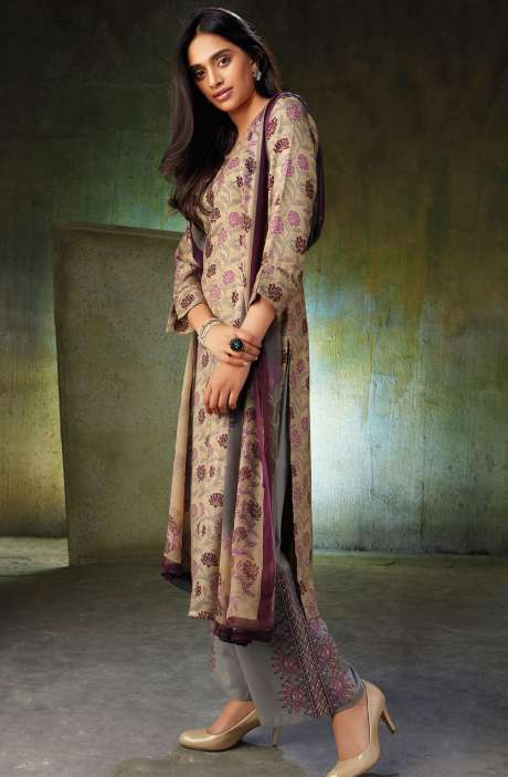 Spun Wool Printed Beige and Grey Salwar Kameez with Embroidery and Swarovski Work - NOO6744