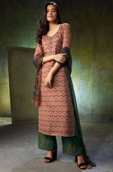 Spun Wool Printed Peach and Bottle Green Salwar Kameez with Embroidery and Swarovski Work - NOO6745