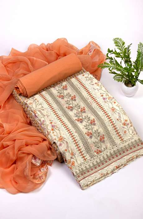 Cotton Beautiful Digital Print & Embroidery Work Suit Set In Cream & Orange with Pure Chiffon Dupatta - NPJ2108