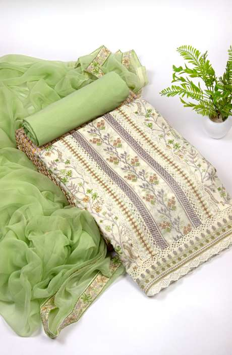 Cotton Beautiful Digital Print & Embroidery Work Suit Set In Cream & Parrot Green with Pure Chiffon Dupatta - NPJ2108B
