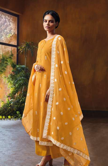 Cotton Dobby Unstitched Salwar Suit Set In Mustard - NUWC0578