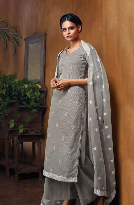 Cotton Dobby Unstitched Salwar Suit Set In Grey - NUWC0579