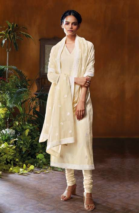 Cotton Dobby Unstitched Salwar Suit Set In Cream - NUWC0580