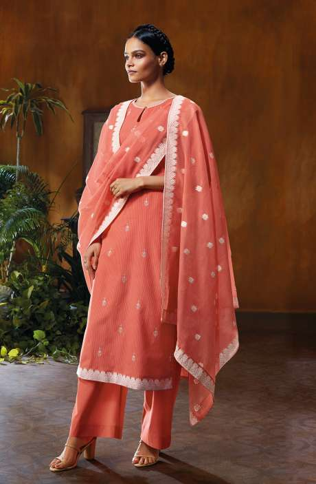 Cotton Dobby Unstitched Salwar Suit Set In Peach - NUWC0581