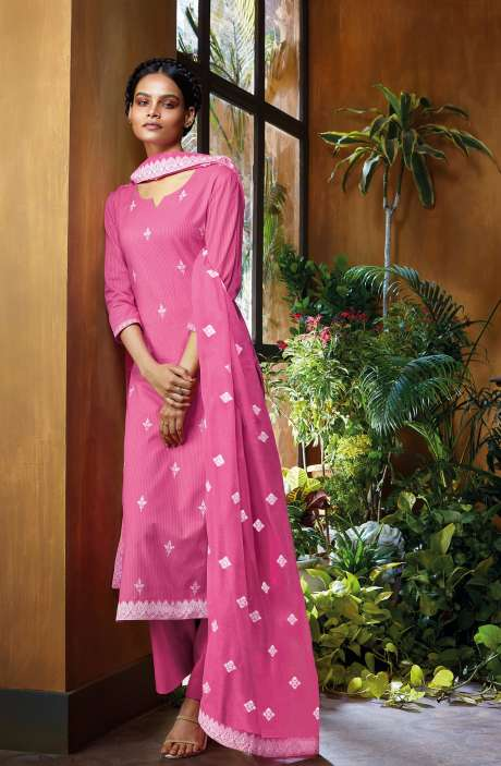 Cotton Dobby Unstitched Salwar Suit Set In Pink - NUWC0582