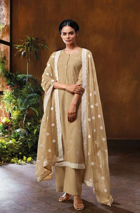 Cotton Dobby Unstitched Salwar Suit Set In Beige - NUWC0583