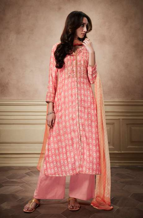 Digital Print Glaze Cotton Pink Suit with Sequinned Zari Embroidery Work - NYR6137