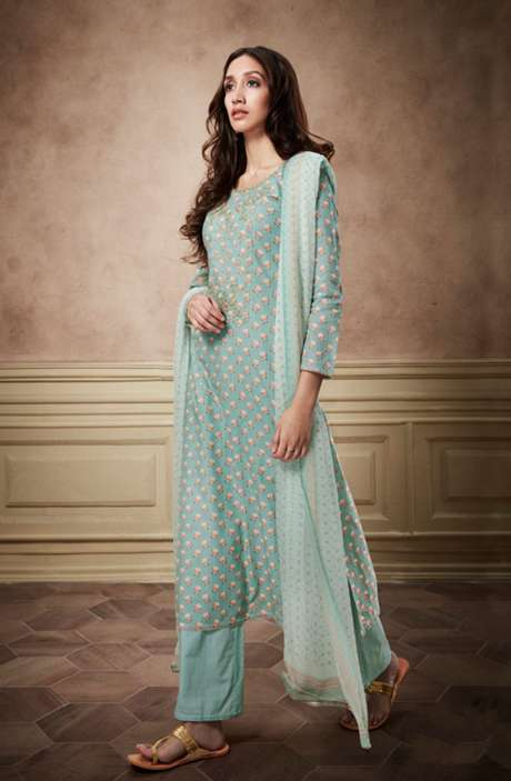 Digital Print Glaze Cotton Pale Green Suit with Sequinned Zari Embroidery Work - NYR6141