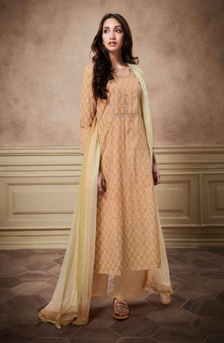 Digital Print Glaze Cotton Beige and Off White Suit with Sequinned Zari Embroidery Work - NYR6142