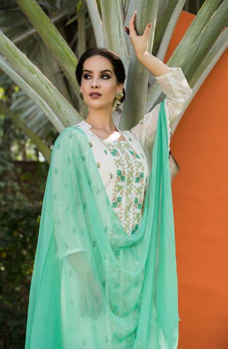 Embroidered Organdy Cotton White Green Salwar Kameez - OAS1673A