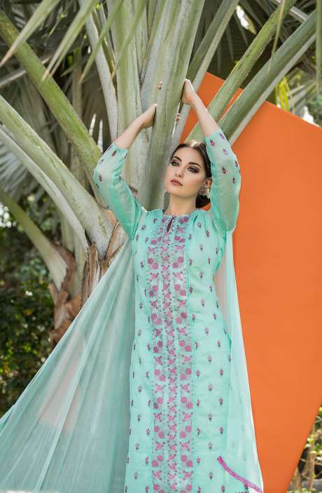 Exclusive Collection Embroidered Organdy Cotton Mint Green Salwar Kameez - OAS1673B-R