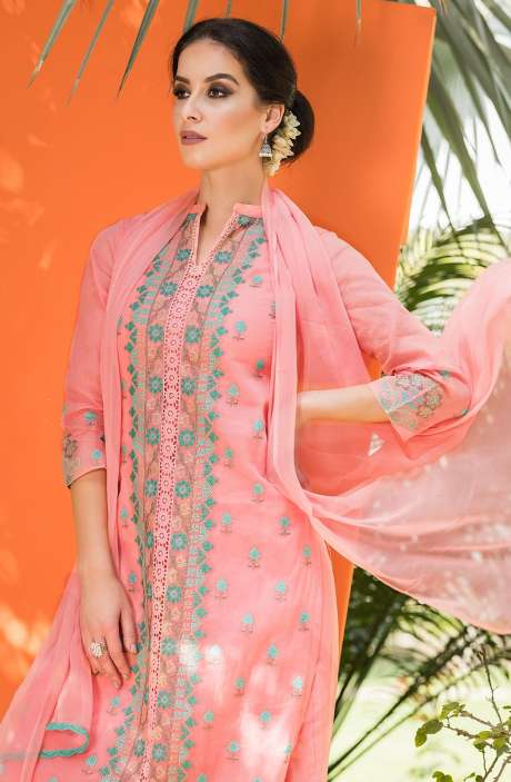 Exclusive Collection Embroidered Organdy Cotton Coral Coloured Salwar Kameez - OAS1674A-R
