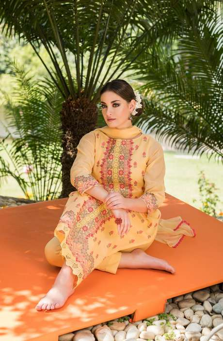Exclusive Collection Embroidered Organdy Cotton Yellow Salwar Kameez - OAS1674B-R