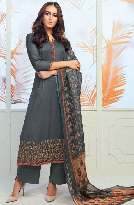 Spun Wool Winterwear Embroidery with Swarovski Work Grey Salwar Suit Sets - ODY6730