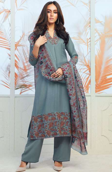 Spun Wool Winterwear Embroidery with Swarovski Work Pale Green Salwar Kameez - ODY6734
