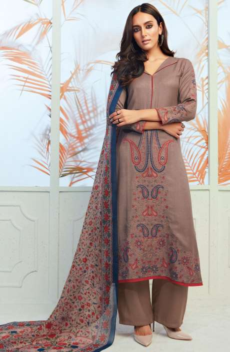 Spun Wool Winterwear Embroidery with Swarovski Work Fawn Salwar Kameez - ODY6735