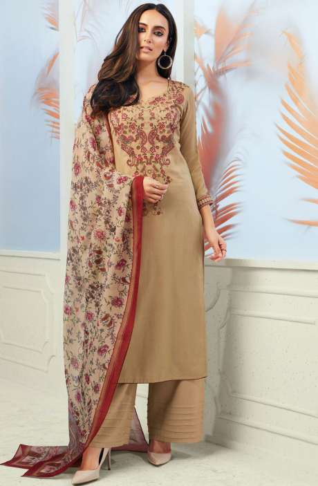 Spun Wool Winterwear Embroidery with Swarovski Work Beige Salwar Suit Sets - ODY6736