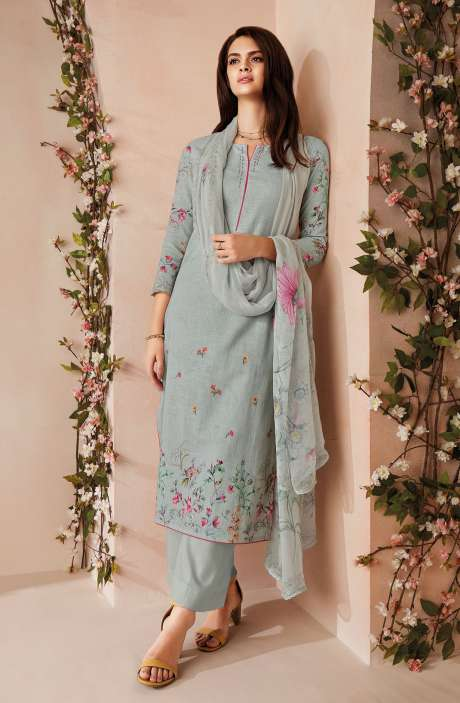 Cotton Digital Floral Printed Salwar Kameez In Grey with Chiffon Dupatta - ODIC0355