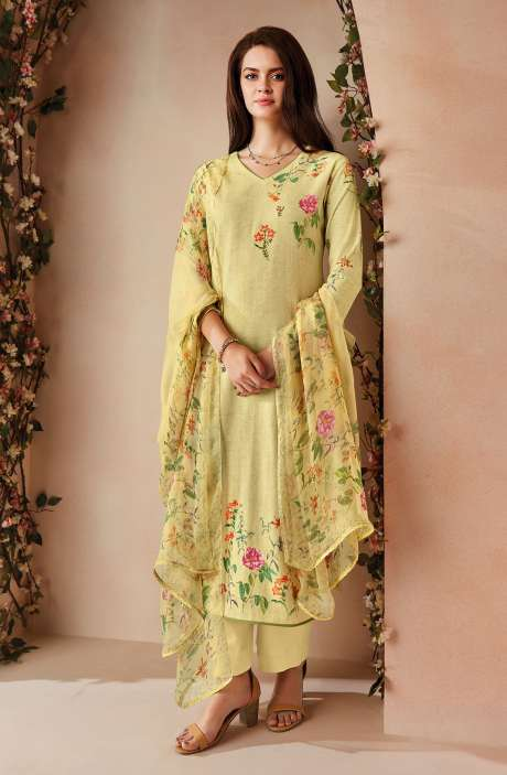 Cotton Digital Floral Printed Salwar Kameez In Light Yellow with Chiffon Dupatta - ODIC0356