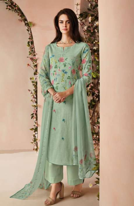 Cotton Digital Floral Printed Salwar Kameez In Sea Green with Chiffon Dupatta - ODIC0357