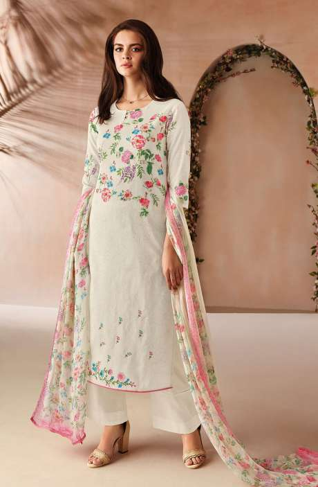 Cotton Digital Floral Printed Salwar Kameez In Cream with Chiffon Dupatta - ODIC0358