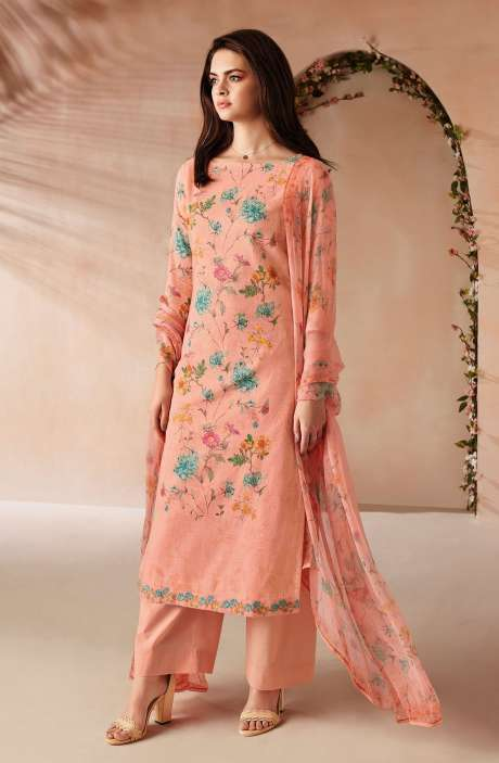 Cotton Digital Floral Printed Salwar Kameez In Peach with Chiffon Dupatta - ODIC0359