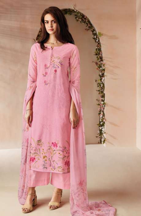 Cotton Digital Floral Printed Salwar Kameez In Baby Pink with Chiffon Dupatta - ODIC0360