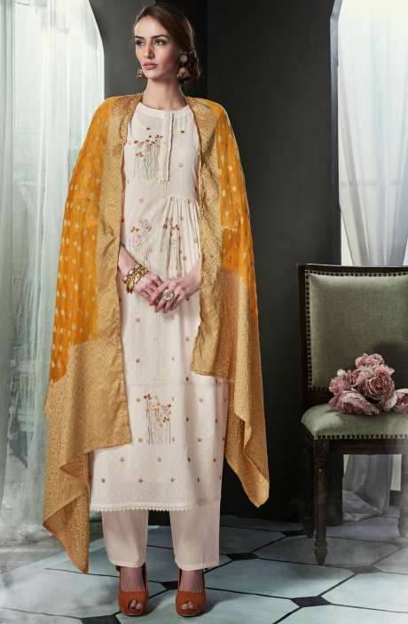Embroidered Cotton Cream Salwar Kameez with Orange Dupatta - OLI4423