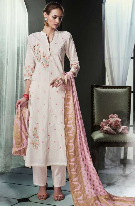 Embroidered Cotton Cream Salwar Kameez with Baby Pink Dupatta - OLI4424