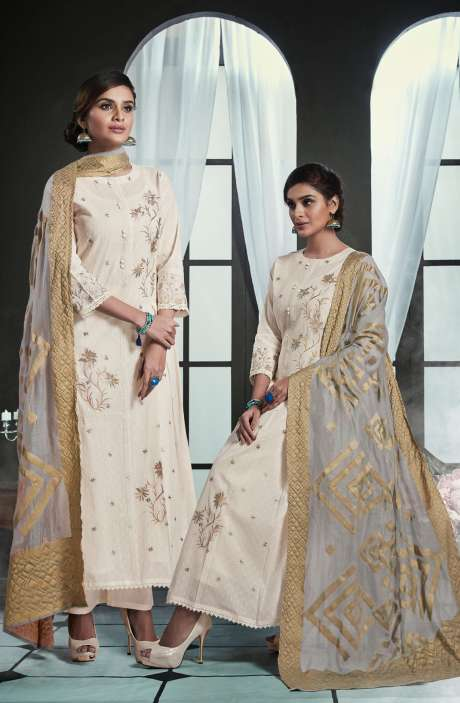 Embroidered Cotton Cream Salwar Kameez with Grey Dupatta - OLI4425